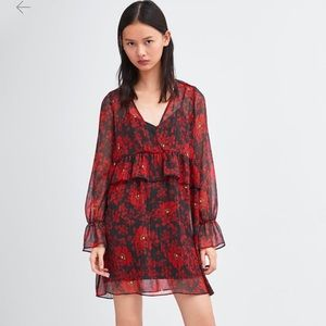 Zara Black and Red Floral Ruffle Dress NWT